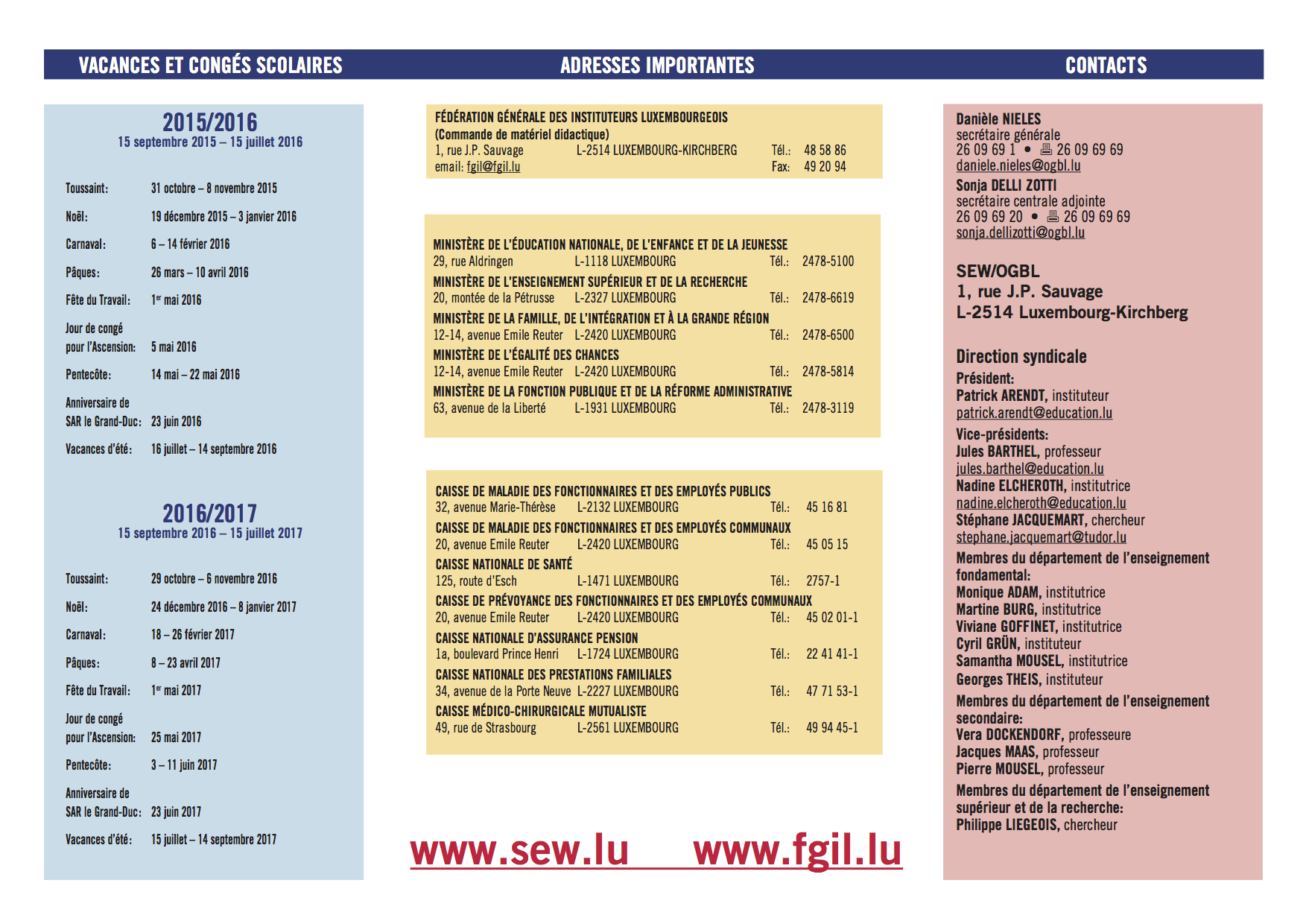 calendrier scolaire luxembourg 2018