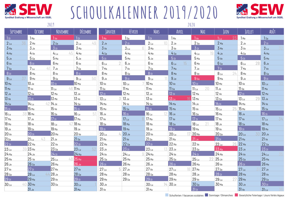 Calendrier Vacances Scolaires 2020.Www Sew Lu Calendrier Scolaire